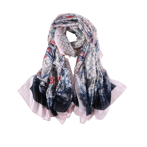 Yangtze Store Long Silk Feel Satin Scarf Pink and Navy Theme Floral Print LAT108