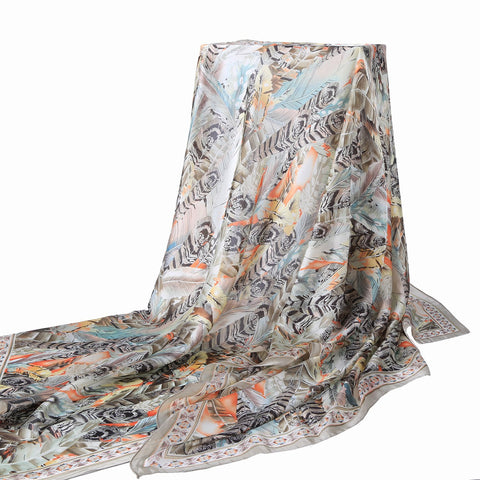 Yangtze Store Long Silk Feel Satin Scarf Silver and Orange Feathers Print LAT111