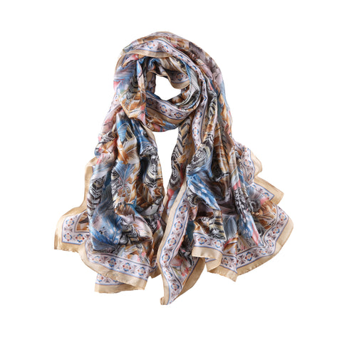 Yangtze Store Long Silk Feel Satin Scarf Taupe and Blue Feathers Print LAT112