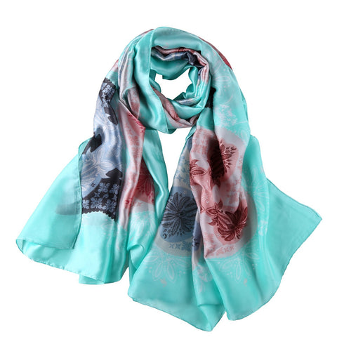 Yangtze Store Long Silk Feel Satin Scarf Turquoise Theme Floral Print LAT105