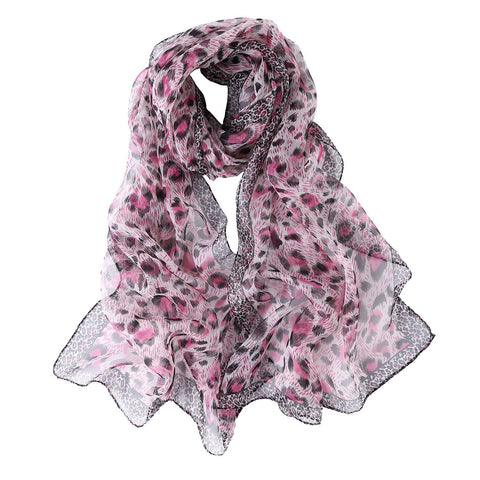 Yangtze Store Long Silk Georgette Scarf Gray and Pink Theme Leopard Print QQL431