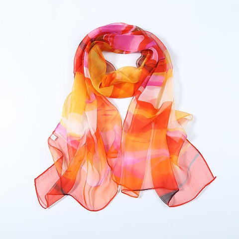 Yangtze Store Long Silk  Georgette Scarf Orange Rainbow Theme QQL411