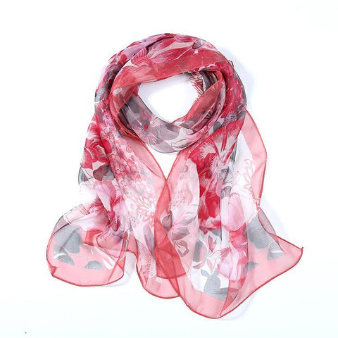 Yangtze Store Long Silk  Georgette Scarf Red Theme Floral Print QQL413