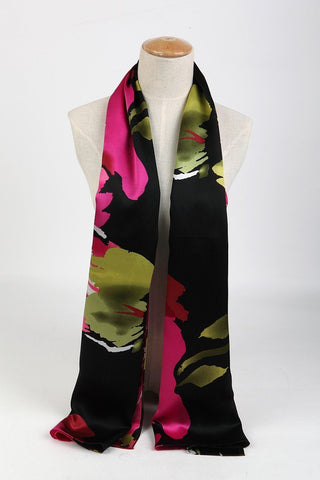 Yangtze Store Long Silk Satin Scarf Black and Pink Flower Theme LZD002