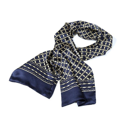 Yangtze Store Long Silk Satin Scarf for Men Navy Theme Check Print SFM032
