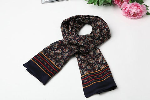 Yangtze Store Long Silk Satin Scarf for Men Navy Theme Paisley Pattern SFM013