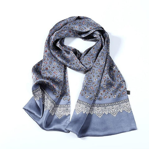 Yangtze Store Long Silk Satin Scarf for Men Silver Theme Paisley Print SFM031