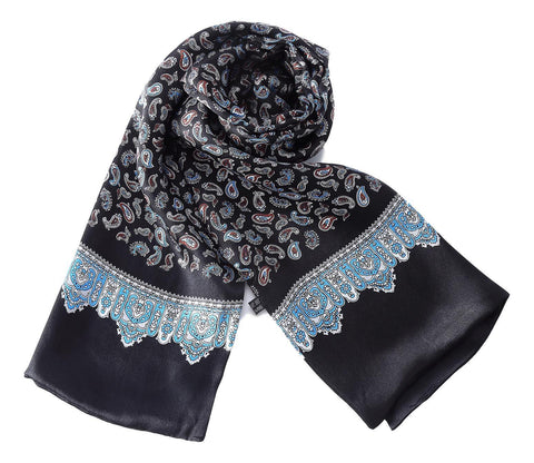 Yangtze Store Long Silk Scarf for Men Black Theme Paisley Print SFM034
