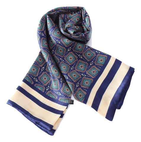 Yangtze Store Long Silk Scarf for Men Blue Theme Squares Print SFM038