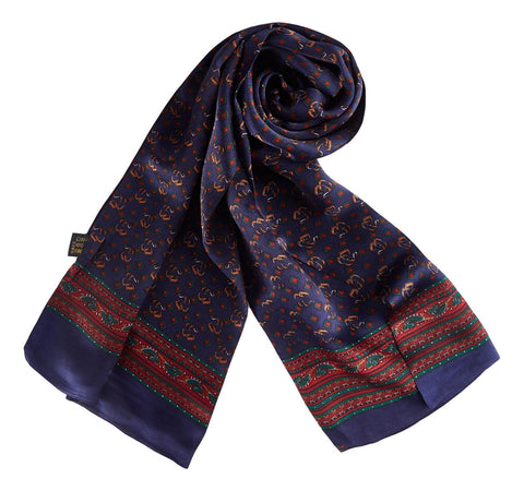 Yangtze Store Long Silk Scarf for Men Navy Theme SFM042