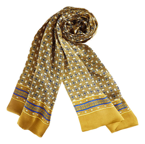 Yangtze Store Long Silk Scarf for Men Yellow Theme SFM043