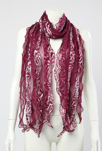Yangtze Store Long Silk Scarf Georgette 6-layers Maroon LQQ004