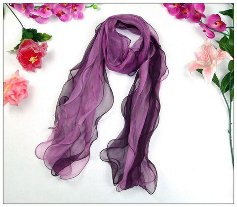 Yangtze Store Long Silk Scarf Georgette Purple Theme SCL013