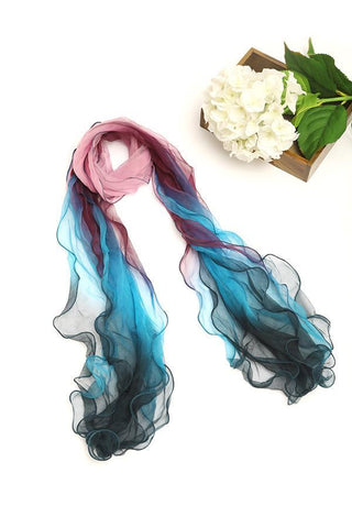 Yangtze Store Long Three-Layer Silk Georgette Scarf Blue and Pink SCL001