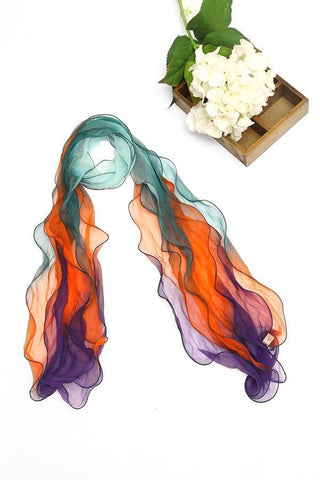 Yangtze Store Long Three-Layer Silk Georgette Scarf Orange Blue and Green SCL003