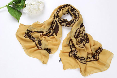 Yangtze Store Long Viscose Scarf Biege Color COT209