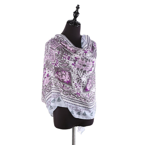 Yangtze Store Long Viscose Scarf Purple Color Paisley Print COT206