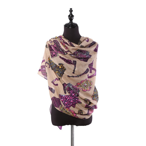 Yangtze Store Long Viscose Scarf Violet Color COT203