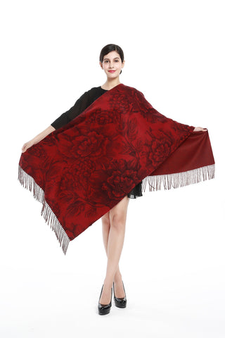 Yangtze Store Luxurious 100% Cashmere Scarf & Wrap Red Color Floral Print CSH105