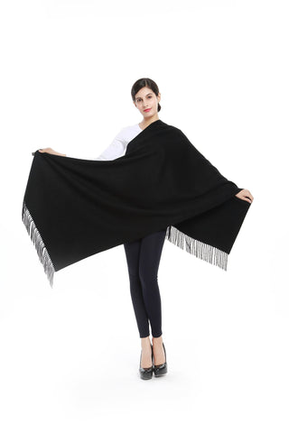 Yangtze Store Luxurious 100% Cashmere Scarf & Wrap Solid Black Color CSH001