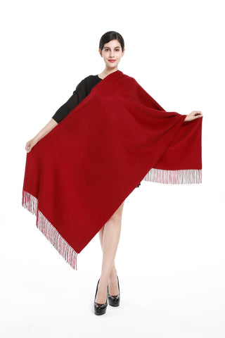 Yangtze Store Luxurious 100% Cashmere Scarf & Wrap Solid Red Color CSH002
