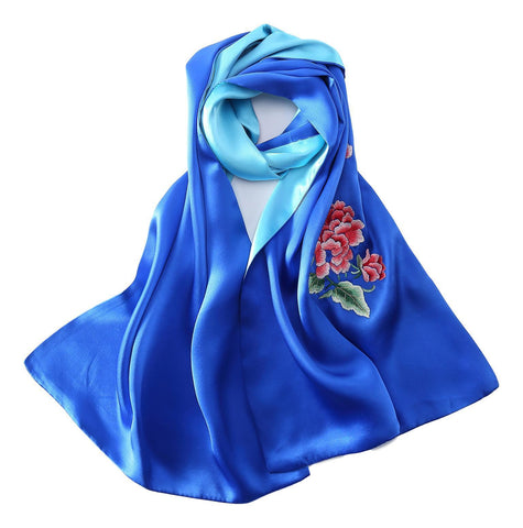 Yangtze Store Luxurious Extra Heavy Charmeuse Silk Scarf with Hand Embroidery Blue EMB004