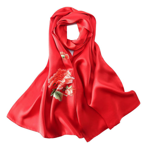 Yangtze Store Luxurious Extra Heavy Charmeuse Silk Scarf with Hand Embroidery Red EMB005