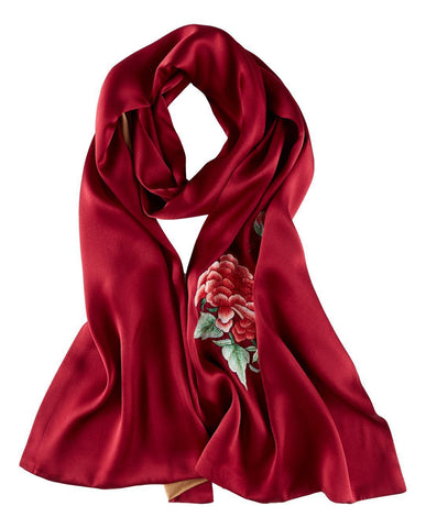 Yangtze Store Luxurious Extra Heavy Charmeuse Silk Scarf with Hand Embroidery Red EMB006