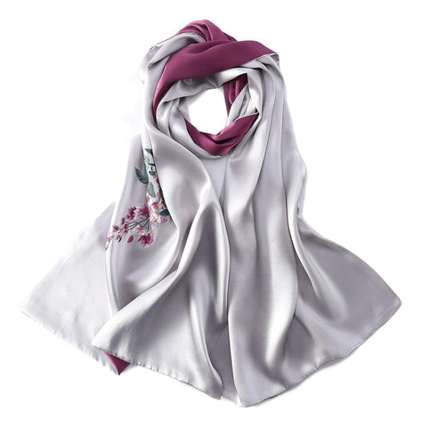 Yangtze Store Luxurious Extra Heavy Charmeuse Silk Scarf with Hand Embroidery Silver EMB002