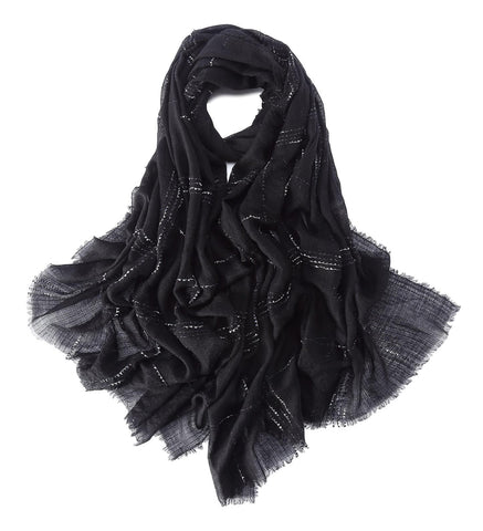 Yangtze Store Luxurious Extra Wide 100% Cashmere Scarf & Wrap Black Color Plaid Print CSH232