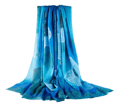 Yangtze Store Luxurious Extra Wide 100% Cashmere Scarf & Wrap Blue Flower CSH243