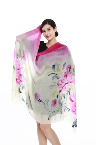 Yangtze Store Luxurious Extra Wide 100% Cashmere Scarf & Wrap Fuchsia Floral Print CSH212
