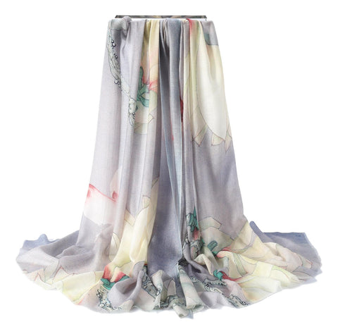 Yangtze Store Luxurious Extra Wide 100% Cashmere Scarf & Wrap Ivory and Gray Floral Print CSH224