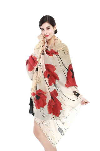 Yangtze Store Luxurious Extra Wide 100% Cashmere Scarf & Wrap Ivory Theme Floral Print CSH218
