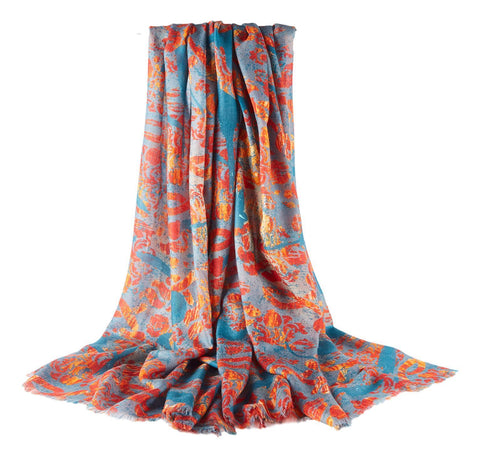 Yangtze Store Luxurious Extra Wide 100% Cashmere Scarf & Wrap Orange and Turquoise CSH241