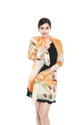 Yangtze Store Luxurious Extra Wide 100% Cashmere Scarf & Wrap Orange Floral Print CSH217