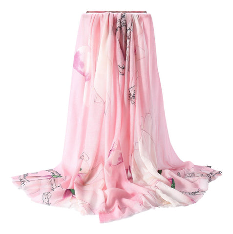 Yangtze Store Luxurious Extra Wide 100% Cashmere Scarf & Wrap Pink Color Floral Print CSH225