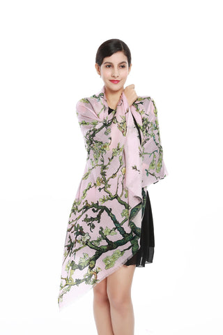 Yangtze Store Luxurious Extra Wide 100% Cashmere Scarf & Wrap Pink Floral Print CSH211