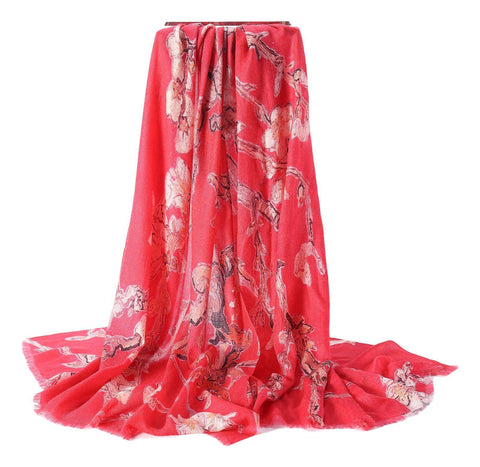 Yangtze Store Luxurious Extra Wide 100% Cashmere Scarf & Wrap Red Color Floral Print CSH222