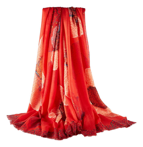 Yangtze Store Luxurious Extra Wide 100% Cashmere Scarf & Wrap Red Flower CSH245