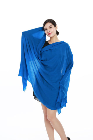 Yangtze Store Luxurious Extra Wide 100% Cashmere Scarf & Wrap Solid Blue Color CSH202