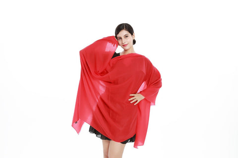 Yangtze Store Luxurious Extra Wide 100% Cashmere Scarf & Wrap Solid Red Color CSH201