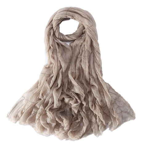Yangtze Store Luxurious Extra Wide 100% Cashmere Scarf & Wrap Taupe Color Plaid Print CSH235