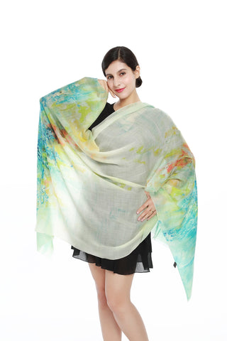 Yangtze Store Luxurious Extra Wide 100% Cashmere Scarf & Wrap Turquoise Floral Print CSH213