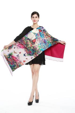 Yangtze Store Luxury Extra Heavy Silk Shawl/Wrap Blue and Pink Butterfly Print GS211