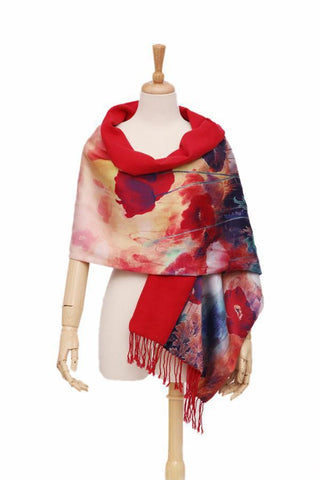 Yangtze Store Luxury Extra Heavy Silk Shawl/Wrap Blue and Red Theme Floral Print GS011