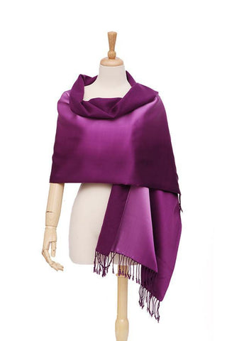 Yangtze Store Luxury Extra Heavy Silk Shawl/Wrap Plain Purple GS006