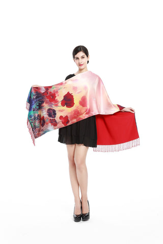 Yangtze Store Luxury Extra Heavy Silk Shawl/Wrap Red Theme Flower Print GS205