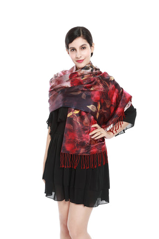 Yangtze Store Luxury Extra Heavy Silk Shawl/Wrap Red Theme Roses Print GS206