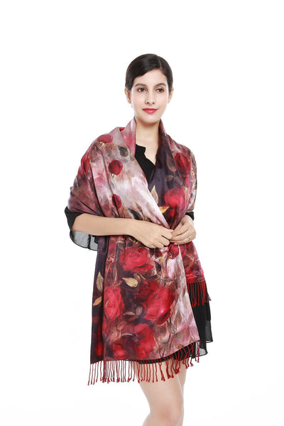 Luxury Extra Heavy Silk Shawl Wrap Red Theme Roses Print